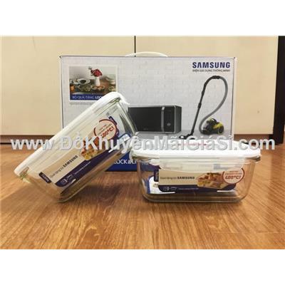 Bộ 2 hộp thủy tinh chữ nhật chịu nhiệt Lock & Lock LLG249 dung tích 740 ml nắp gài - Samsung tặng