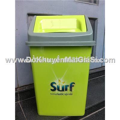 Thùng đựng rác Surf nắp lật màu xanh - Kt: (27.5 x 33 x 51.5) cm