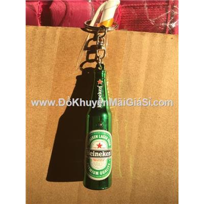 Móc khóa hình chai bia Heineken có đèn - Chai bia cao 7.8 cm