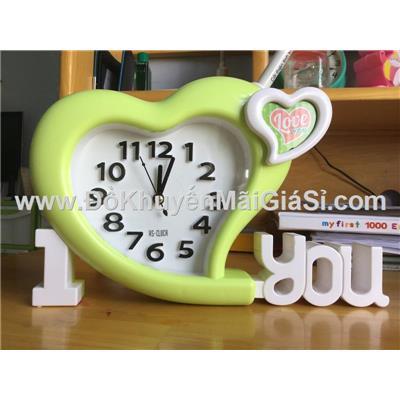 Đồng hồ để bàn hình trái tim có báo thức - Kt: (24 x 15) cm - Xanh lá