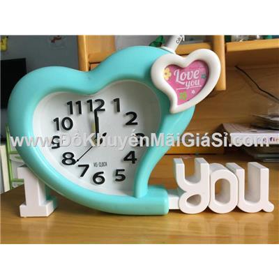 Đồng hồ để bàn hình trái tim có báo thức - Kt: (24 x 15) cm - Xanh dương