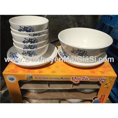Bộ bàn ăn sứ hoa xanh 8 món - Sữa Dutch Lady tặng