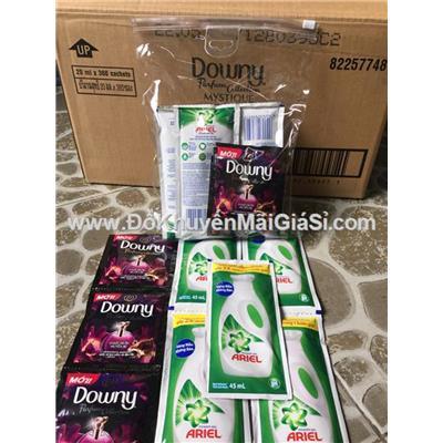Thùng 100 gói nước giặt Ariel 45 ml + 60 gói nước xả Downy 20 ml + 20 túi nhựa trong