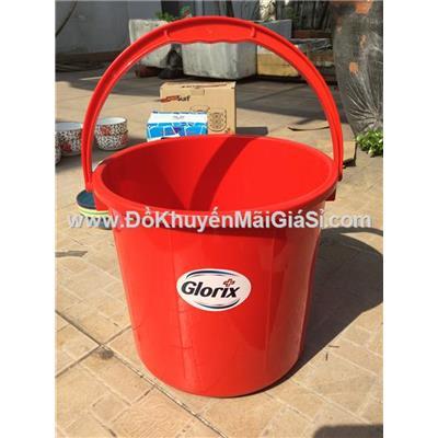 Xô nhựa Glorix 8 lít màu đỏ - Kt: (25 x 23.5 x 22) cm