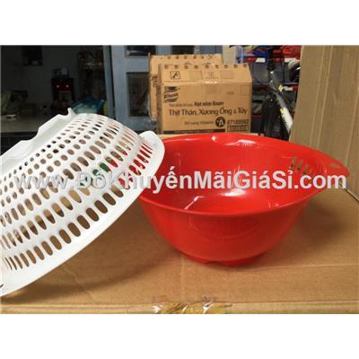 Bộ thau rổ nhựa tròn Vĩ Hưng có quai cầm, size mini 2T2 - Kt: (22 x 18.5 x 8.5) cm