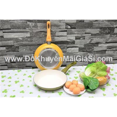 Chảo chống dính Lock & Lock Ceramic cao cấp 24cm Sharp tặng, dùng được trên bếp từ - Mã sp: 24PR-LLPAN24
