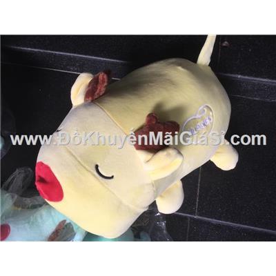 Chú heo nằm ngủ nhồi bông màu vàng, tã Huggies tặng - Kt: (35 x 27 x 15) cm