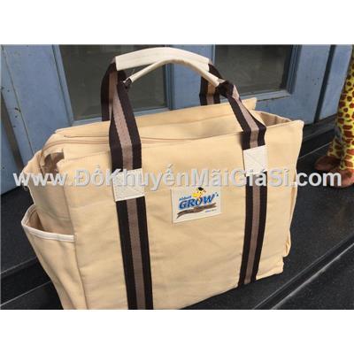 Túi xách vải bố cỡ lớn Abbott Grow màu kem - Kt: (35 x 15 x 28) cm