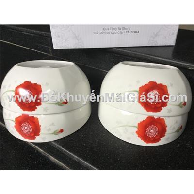 Bộ 4 tô sứ cao cấp Dong Hwa hoa đỏ 7 in - Sharp tặng