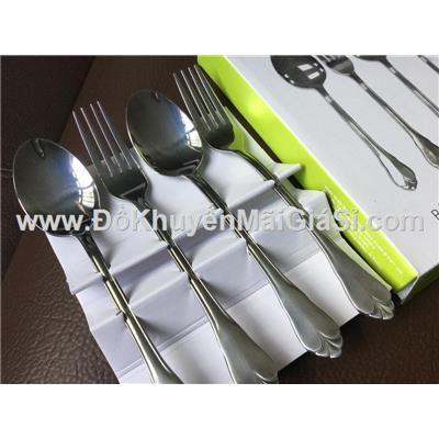 Bộ 2 muỗng + 2 nĩa inox cao cấp cỡ lớn dài 20 cm - Sharp tặng