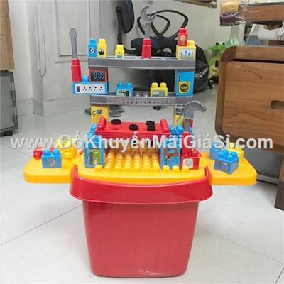 """Bộ đồ chơi """"Bé tập làm kỹ sư"""" có thùng đựng cỡ to bằng nhựa - Sữa Similac tặng - Kt thùng: (34 x 30 x 26) cm"""