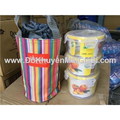 Bộ hộp cơm kèm túi giữ nhiệt Nestle sọc cam - Kt: (21 x 13) cm