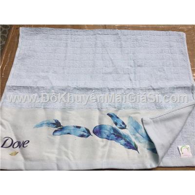 Khăn Dove màu xanh có hình lông vũ - Kích thước: (80 x 50) cm