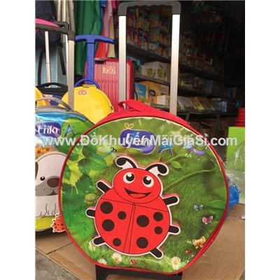 Vali kéo 3D Enfa tròn cho bé hình bọ cánh cứng màu đỏ - Kt: (36 x 13) cm
