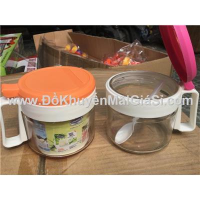 Bộ 2 hũ đựng gia vị thủy tinh nắp bật kèm muỗng (2 màu nắp) - Vinamilk tặng