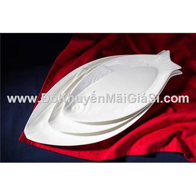 Dĩa sứ trắng hình cá cỡ đại dài 50 cm - P&G tặng