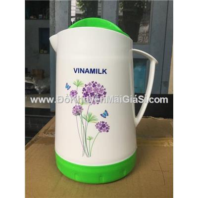 Bình giữ nhiệt cao cấp Vinamilk 1.5 lít nhựa Đại Đồng Tiến - Kt: (23.7 x 17 x 14) cm - Bình trắng có hoa