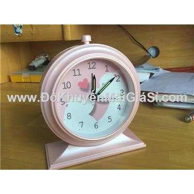 Đồng hồ để bàn hình tròn có báo thức + đèn - Kt: (12.5 x 5.2 x 15) cm - Màu hồng