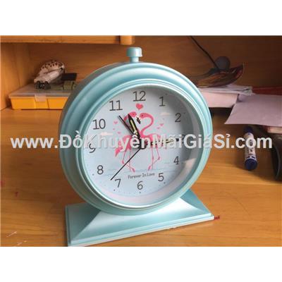 Đồng hồ để bàn hình tròn có báo thức + đèn - Kt: (12.5 x 5.2 x 15) cm - Xanh dương