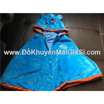 Xanh dương: Áo choàng Goodry hình thú vải nhung mềm mịn cho bé <= 6 tuổi - Dài 50 cm tính từ vai áo