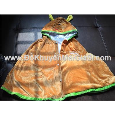 Nâu: Áo choàng Goodry hình thú vải nhung mềm mịn cho bé <= 6 tuổi - Dài 50 cm tính từ vai áo