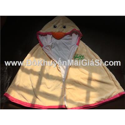 Màu kem: Áo choàng Goodry hình thú vải nhung mềm mịn cho bé <= 6 tuổi - Dài 50 cm tính từ vai áo