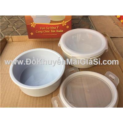 Bộ 2 thố sứ Donghwa nắp gài có silicon dung tích 500 ml - Kt: (12 x 5.5) cm