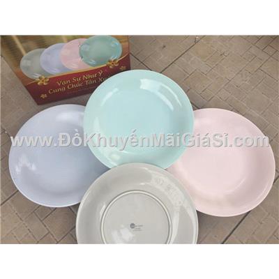 Bộ 4 dĩa sứ cao cấp Dong Hwa màu Pastel cỡ lớn - Đk: 25.3 cm