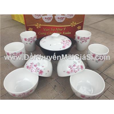 Bộ bàn ăn 9 món cao cấp Dong Hwa hoa đào - Sữa Enfa tặng