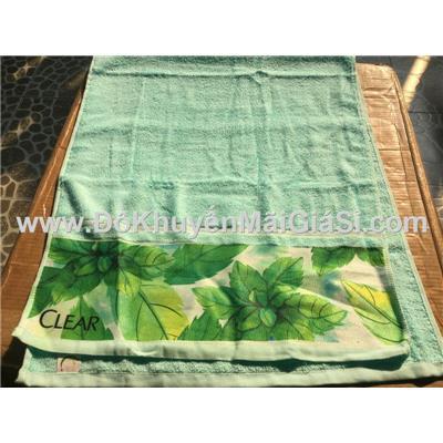 Khăn tắm cỡ lớn Clear màu xanh phối lá bạc hà ở chân khăn - Kt: (120 x 50) cm