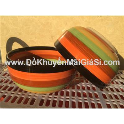 Bộ 2 tô gốm sứ cầu vồng sắc cam 5.5 in kiểu bầu ngấn - Kt: (14.8 x 7) cm - Không hộp