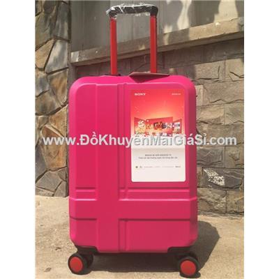 Hồng: Vali nhựa kéo du lịch Sony 20 inch có khóa số - Kt: (56 x 35 x 23) cm - Phí giao hàng tính riêng 10 ngàn