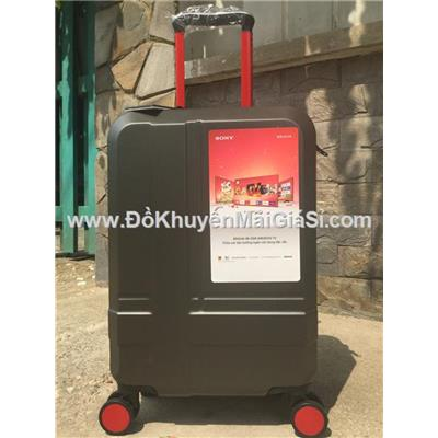 Đen: Vali nhựa kéo du lịch Sony 20 inch có khóa số - Kt: (56 x 35 x 23) cm - Phí giao hàng tính riêng 10 ngàn