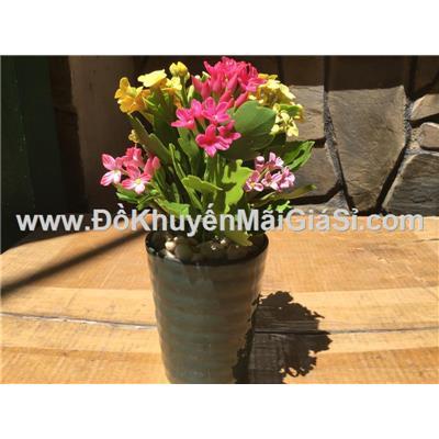 Bình hoa sống đời bằng đất sét Handmade - Kt: (15 x 5 x 20) cm