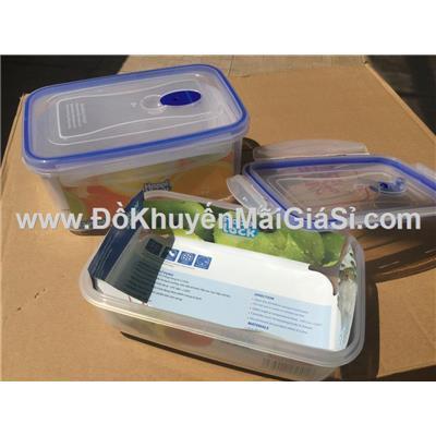 Bộ 2 hộp nhựa chữ nhật Happi Lock nắp gài kín hơi (H415 1300ml + H410 900ml)