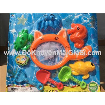 Vỉ đồ chơi đi biển 8 món có vợt cá cho bé - Kt: (43 x 38) cm