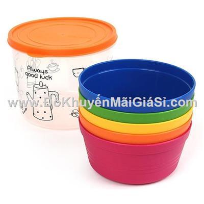 Bộ 5 chén nhựa Rainbow cao cấp Lock&Lock HPP512S5, kèm hộp đựng - Friso tặng