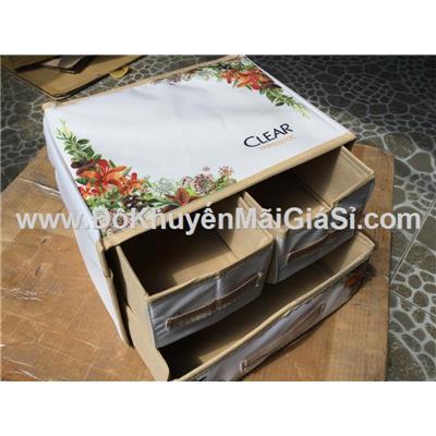 Thùng đựng đồ đa năng xếp gọn Clear 3 ngăn có hoa - Kt: (30 x 23 x 21) cm