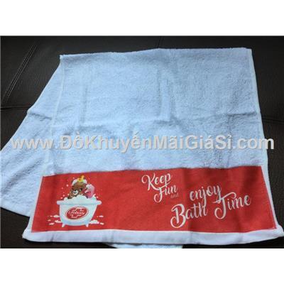 Khăn tắm Lifebuoy màu trắng phối đỏ ở chân khăn - Kt: (80 x 40) cm