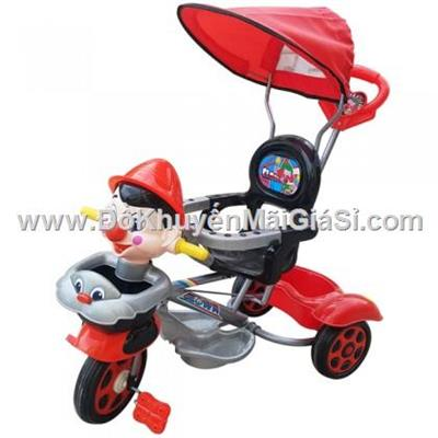 Chú hề màu đỏ: Xe 3 bánh Nhựa Chợ Lớn L10 có bảo hiểm, nhạc, mái che, cần đẩy - Phí giao hàng tính riêng 50 ngàn