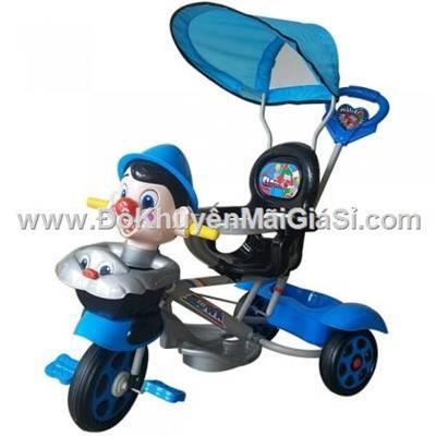 Chú hề xanh dương: Xe 3 bánh Nhựa Chợ Lớn L10 có bảo hiểm, nhạc, mái che, cần đẩy - Phí giao hàng tính riêng 50 ngàn