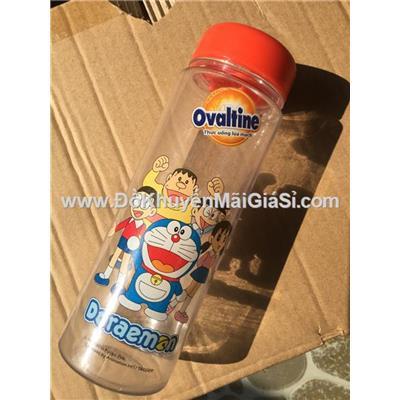 Bình nước nhựa trong Ovaltine 500ml nắp vặn hình phim Doraemon - Giao hình ngẫu nhiên