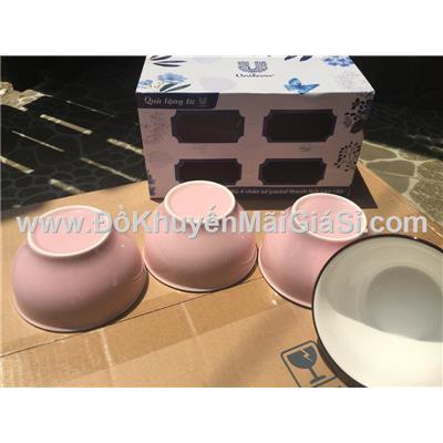 Bộ 4 chén sứ tráng men màu hồng pastel Unilever tặng có hộp - Kt chén: (11.2 x 6.2 x 6.2) cm
