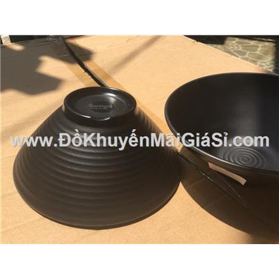Tô melamine Srithai 8 in hình nón màu đen mờ nhám có vân, Sunlight tặng - Kt: (20 x 7.5 x 8) cm