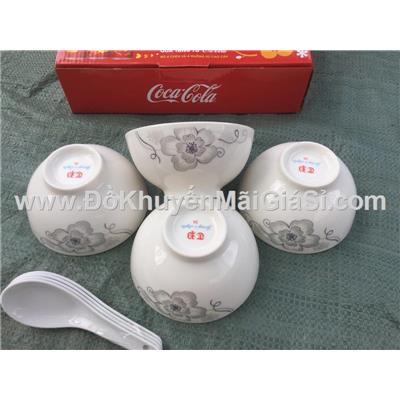 Bộ 4 chén sứ bông có nhũ 4.5 inch + 4 muỗng sứ trắng - Coca Cola tặng, có hộp