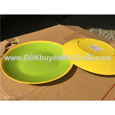 Bộ 2 dĩa nhựa màu 2 lớp Tân Lập Thành - Kt: (22.6 x 3) cm