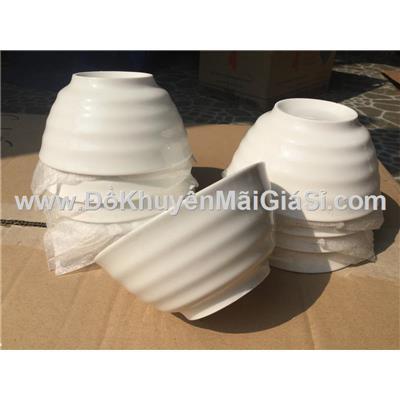 Lốc 10 chén cơm sứ trắng kiểu vân sọc ngang - Kt: (11.8 x 5.9) cm