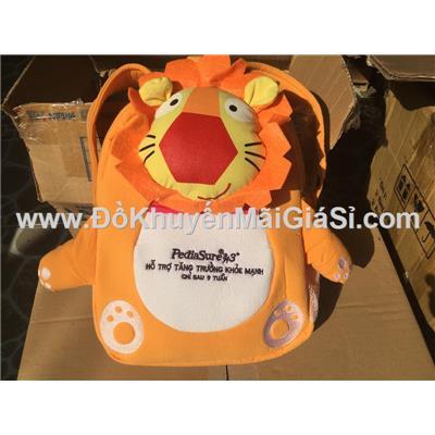 Balo Pedia vải cara hình sư tử cam cho bé - Kt: (35 x 30 x 8) cm
