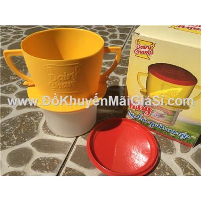Hộp nhựa bảo quản lon sữa đặc Dairy Champ hình phin cafe - Kt: ((8 x 14 x 10) cm