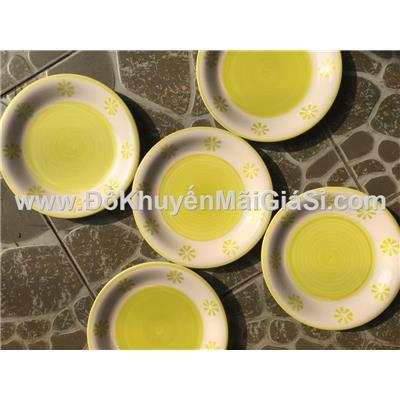 Hoa xanh: Bộ 5 dĩa sứ 7 in hoa văn kiểu Nhật - Kích thước: (20 x 2) cm